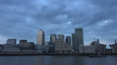 4K London Canary Wharf in Sunset, Financial Office Center, Business Buildings Stock Footage