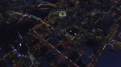Soaring Over Nashville Skyline at Night Stock Footage