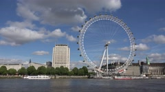 4K London Eye, English Boats, Ships on Thames River, People Tourists Visiting UK Stock Footage