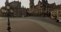 Camera flies sideways and climbs past King Johan Dresden Stock Footage