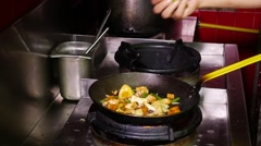 Roasted Vegetables in a wok - slow motion Stock Footage