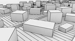Many different sized cartons moving on conveyors. 4K seamless loopable sketch Stock Footage