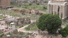 4K Rome, Tourists People Visiting Roman Forum, Ruins View, Old Columns Temple Stock Footage