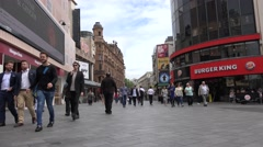 4K London People Walking, Shopping in Leicester Square, Burger King View by Day Stock Footage
