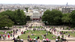 4K Timelapse People in Paris, Tourists Walking in Park by Sacre Coeur Church Stock Footage
