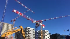Huge Construction Cranes In Urban Zone Stock Footage
