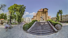 Kiev. Golden Gate and Monument to Yaroslav Wise Stock Footage