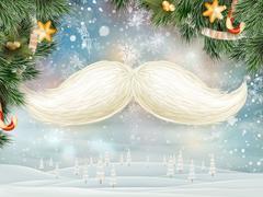 White Santa s moustache. EPS 10 Stock Illustration