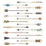 Set of arrow types for archer Stock Illustration