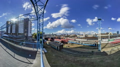 Top View of the Station and Train to Kiev Stock Footage