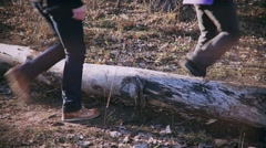 Legs of two men stepping over fallen tree in forest in autumn Stock Footage