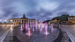 Kiev. Fountain Illuminated at the Postal Square. Stock Footage