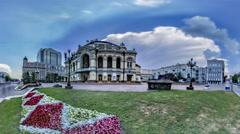 National Opera House in Kiev. Flowerbed Stock Footage