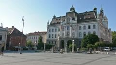 The university building in Ljubljana Stock Footage