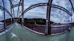 The Pedestrian Bridge. Kiev and Trukhanov Island Stock Footage