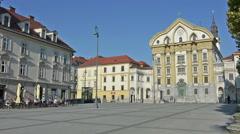 Ursuline Church of the Holy Trinity in Ljubljana Stock Footage