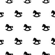 Rocking horse black and white kid pattern Stock Illustration