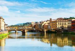 Ponte Santa Trinita bridge over the Arno River, Florence Stock Photos