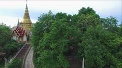 Aerial view PHRAPHUTTHABATHTAKPA TEMPLE, LAMPHUN, THAILAND. Stock Footage