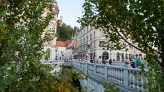 Time lapse of The three bridges in Ljubljana Stock Footage