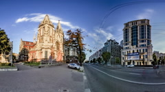 Church of St. Nicholas in Kiev. Most Vasylkivska. Stock Footage
