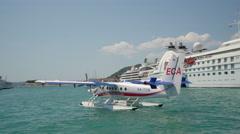 Seaplane cruising at sea - Adriatic sea Stock Footage