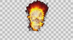 Animation of the skull in the fire Alpha Channel Stock Footage