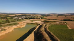 Aerial view of a gravel and sand quarry Stock Footage