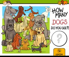 Counting activity with dogs Stock Illustration
