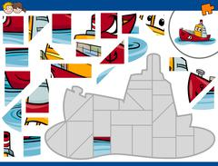 Jigsaw puzzle with ship Stock Illustration