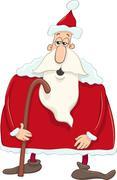 Santa with cane cartoon Stock Illustration