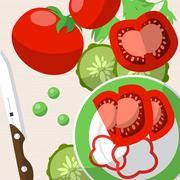 Still life with tomatoes, knife, plate and sliced vegetables on the table. Ve Stock Illustration