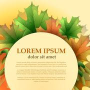 Round frame with maple leaves on a light background with place for your text. Stock Illustration