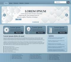 Web design elements in blue and gray tones. Template. Vector Stock Illustration
