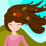 Cute girl with leaves in her hair, which are developed in the wind. Vector Piirros