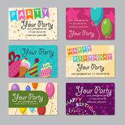 Set of business card your party with gifts, balloons, ice cream and hat for y Stock Illustration