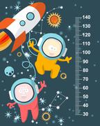 Funky monsters with a missile in space against the background of stars. Stadi Stock Illustration