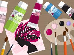 Collection of drawing tools and acrylic paints on the table. Vector Stock Illustration