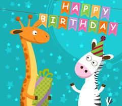 Postcard with giraffe and zebra, which celebrate the birthday. Vector Piirros