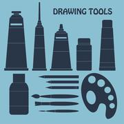 Collection of drawing tools for your design. Silhouette. Vector Stock Illustration