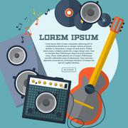 Set of guitar, combo amp, speaker, notes and records with space for your adve Stock Illustration