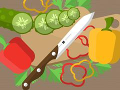 Still life with sliced vegetables on a table with a knife, cutting board and  Stock Illustration