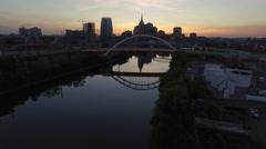 Flying Sideways Over River and Nashville Skyline At Dusk Stock Footage
