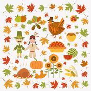 Thanksgiving day icon set. Flat style Stock Illustration