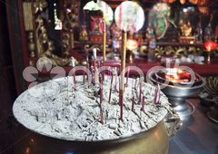 Red Incense sticks in a Buddhist temple Stock Photos