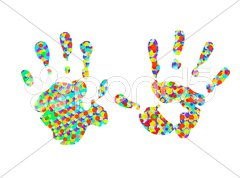 Two colorful Handprints Stock Photos
