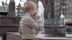 Boy with ice cream fountain Stock Footage