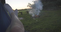 Hammock Sunset Fire Canon 1DC Stock Footage