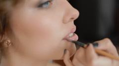 Makeup artist doing visage Stock Footage
