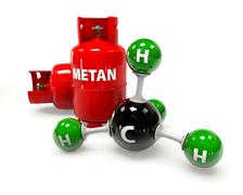 3D illustration molecule of Gas Methane on a white background Stock Illustration